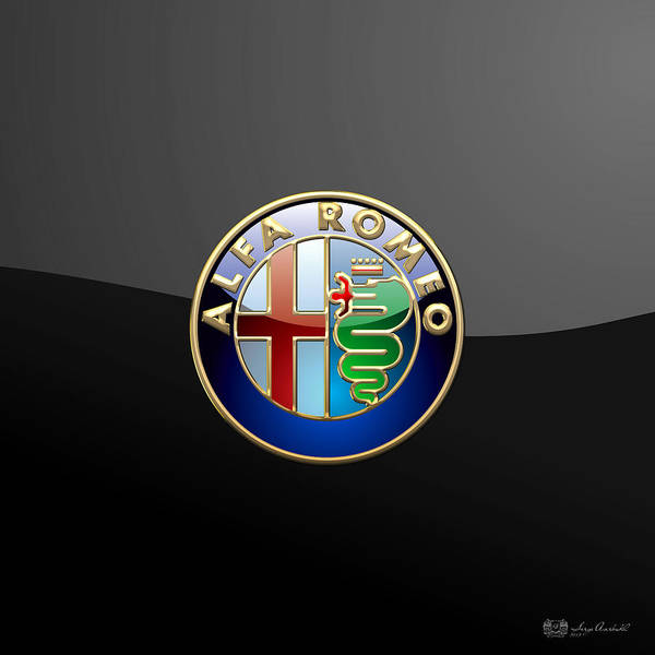 Wheels Of Fortune� Collection By Serge Averbukh Poster featuring the photograph Alfa Romeo - 3 D Badge on Black by Serge Averbukh