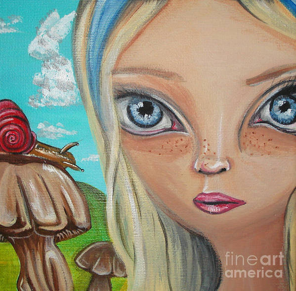 Alice In Wonderland Poster featuring the painting Alice Finds A Snail by Jaz Higgins