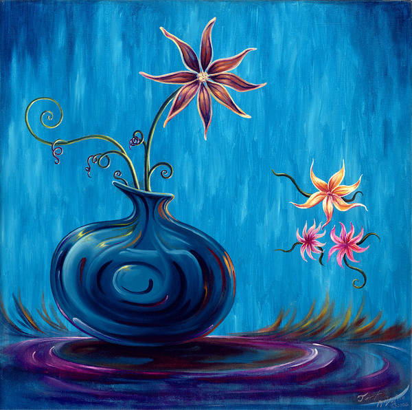 Fantasy Floral Scape Poster featuring the painting Aloha Rain by Jennifer McDuffie