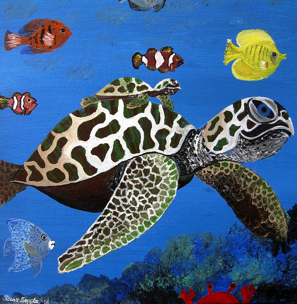 Sea Turtle Poster featuring the painting Along For The Ride by Sharon Supplee