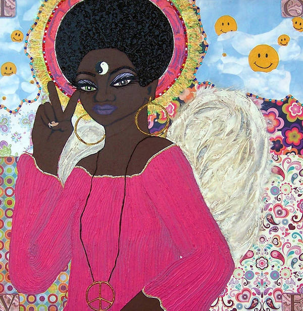 Angel Poster featuring the painting Angel Peace-n-love-n-stuff by Chandra Daniels