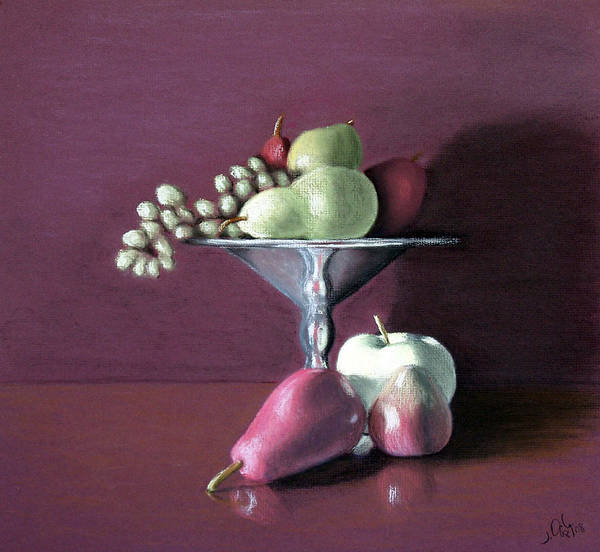 Pastel Poster featuring the painting Apple Pears And Grapes by Joseph Ogle