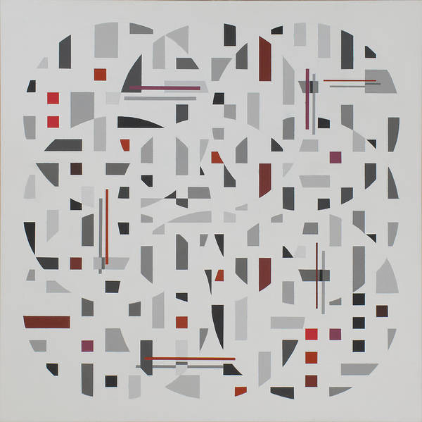 Abstract Geometric Painting Poster featuring the painting Arrangement in Gray with Red by Marston A Jaquis