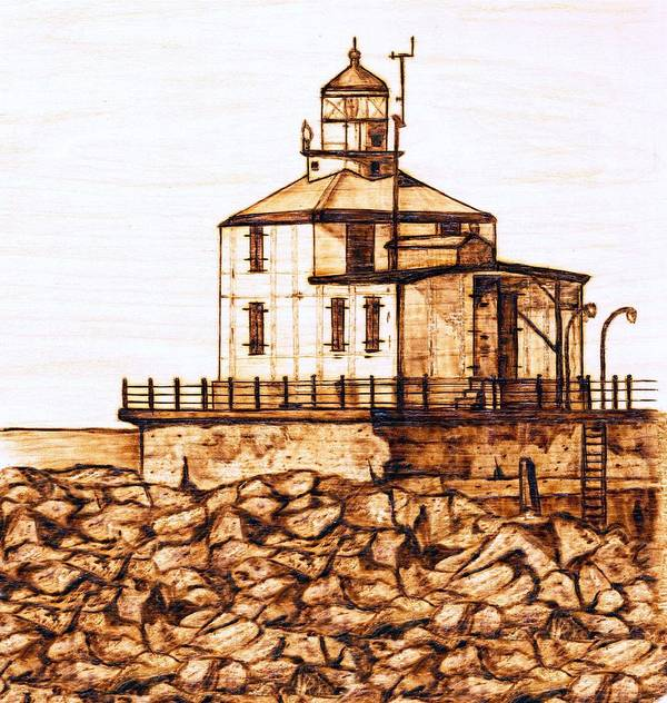 Lighthouse Poster featuring the pyrography Ashtabula Harbor by Danette Smith