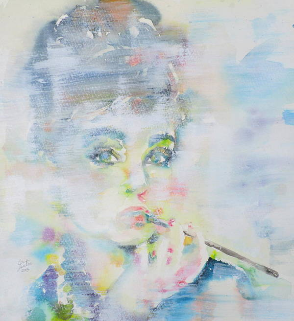 Audrey Poster featuring the painting Audrey Hepburn - Watercolor Portrait.16 by Fabrizio Cassetta