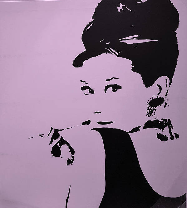 Audrey Hepburn Poster featuring the photograph Audrey Pink by Rob Hans