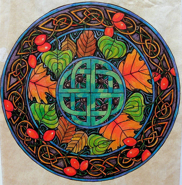 Celtic Poster featuring the mixed media Autumn by Helen Carson
