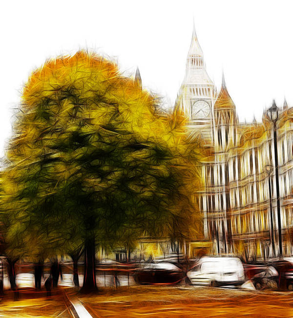Autumn London Tree Trees Big Ben Westminster Parliament Street Yellow Leaves Leaf Expressionism Painting Poster featuring the painting Autumn In London by Steve K
