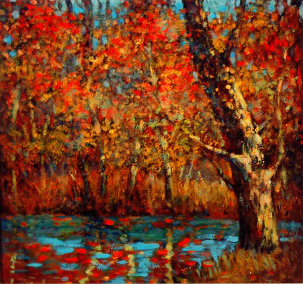 Autumn Poster featuring the painting Autumn Near Lake by LoveyUp Gallery