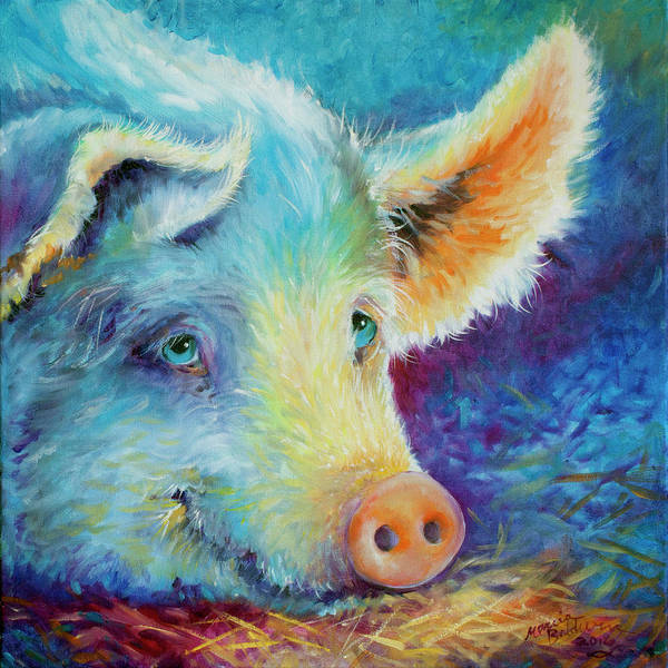 Pig Poster featuring the painting Baby Blues Piggy by Marcia Baldwin