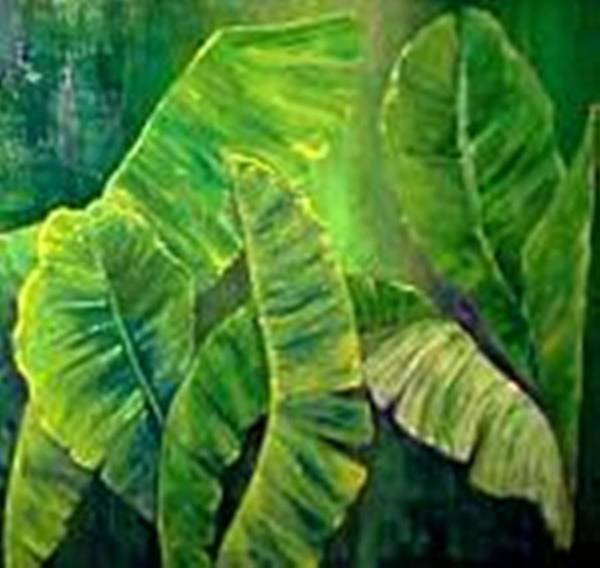 Poster featuring the painting Banana Leaves by Carol P Kingsley