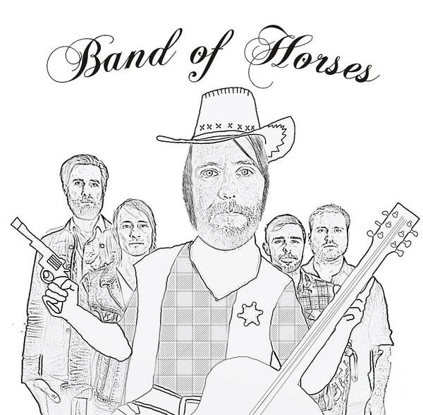 Band Of Horses Poster featuring the photograph Band Of Horses by Priscilla Wolfe