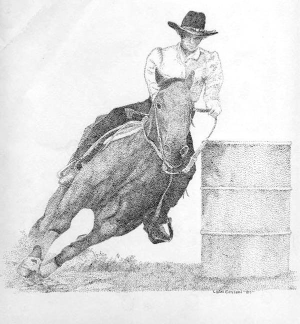 Rodeo Poster featuring the drawing Barrel Racer by Lucien Van Oosten