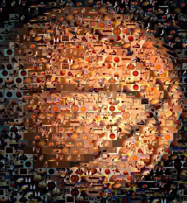 Hoops Poster featuring the digital art Basketball Mosaic by Paul Van Scott
