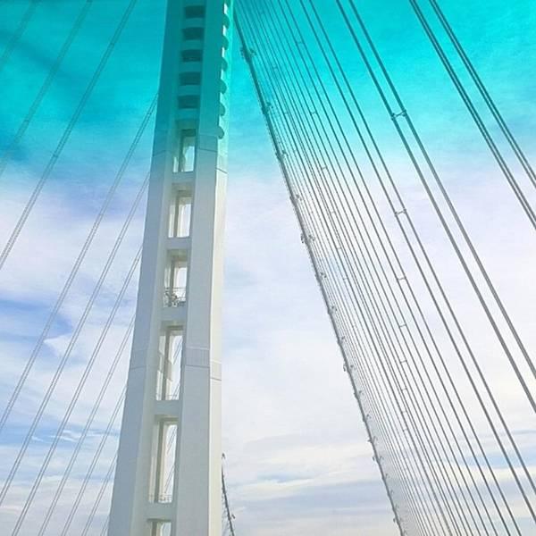 Bridge Poster featuring the photograph Bay #bridge Section. Love The Aqua Tint by Shari Warren