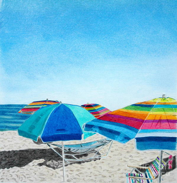 Beach Umbrella Poster featuring the drawing Beach Umbrellas by Glenda Zuckerman