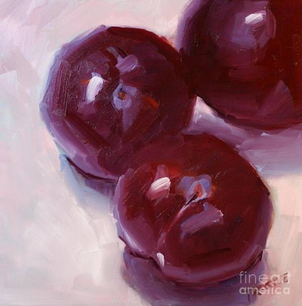 Red Poster featuring the painting Beautiful Three Plums Print Wall Art Room Decor by Patti Trostle