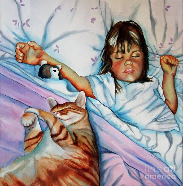 Child Poster featuring the painting Bed Buddies by Gail Zavala