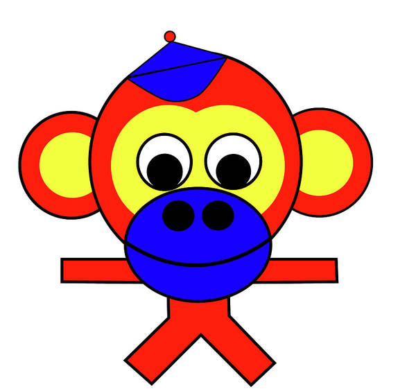 Bernhard The Monkey Poster featuring the digital art Bernhard the Monkey by Asbjorn Lonvig