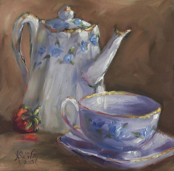 Pitcher Poster featuring the painting Berry Blue by Angela Sullivan