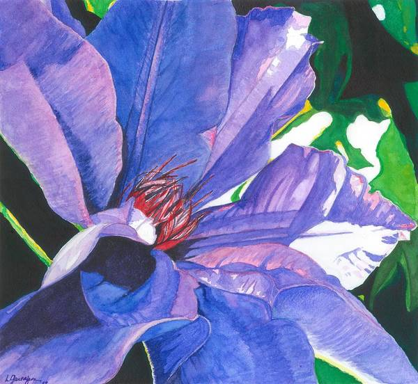 Summer Blooms Poster featuring the painting Big Blue Clematis by Leslie Gustafson
