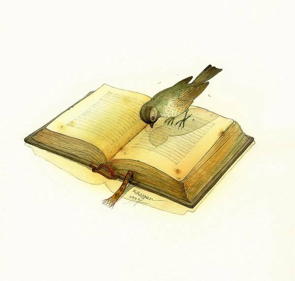 Book Bird Poster featuring the painting Bird and Book by Kestutis Kasparavicius