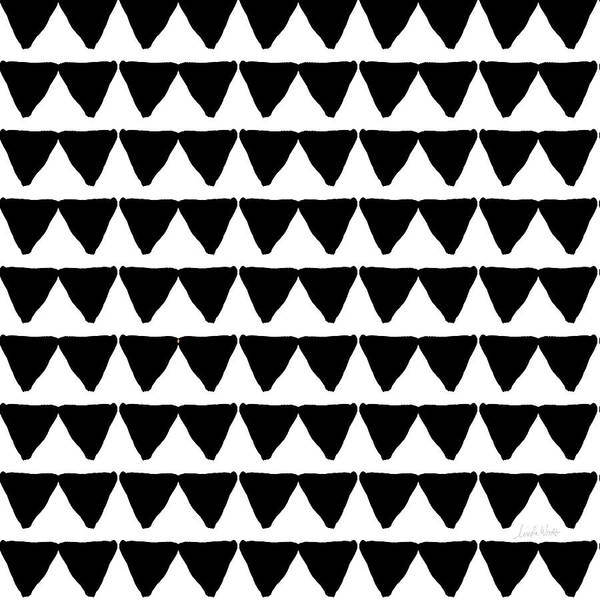 Triangles Poster featuring the mixed media Black and White Triangles- Art by Linda Woods by Linda Woods