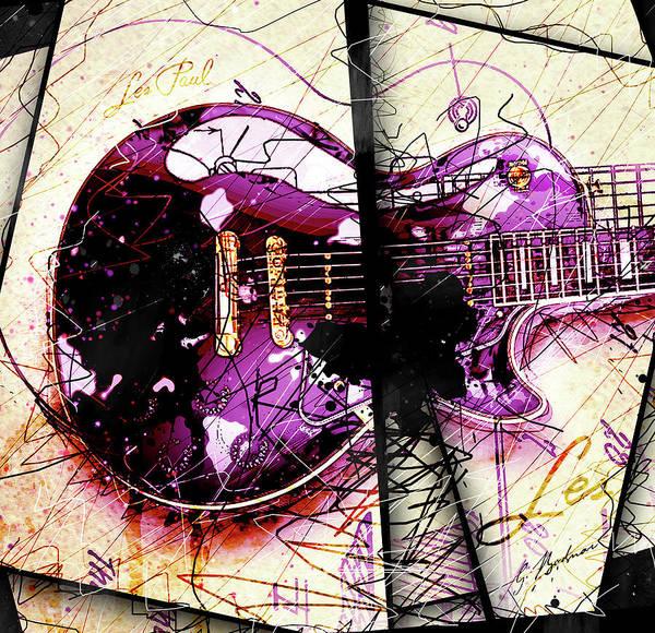 Guitar Art Poster featuring the digital art Black Beauty C 2 by Gary Bodnar