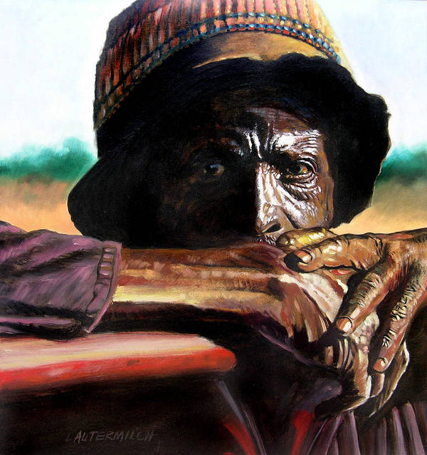 Black Farmer Poster featuring the painting Black Farmer by John Lautermilch