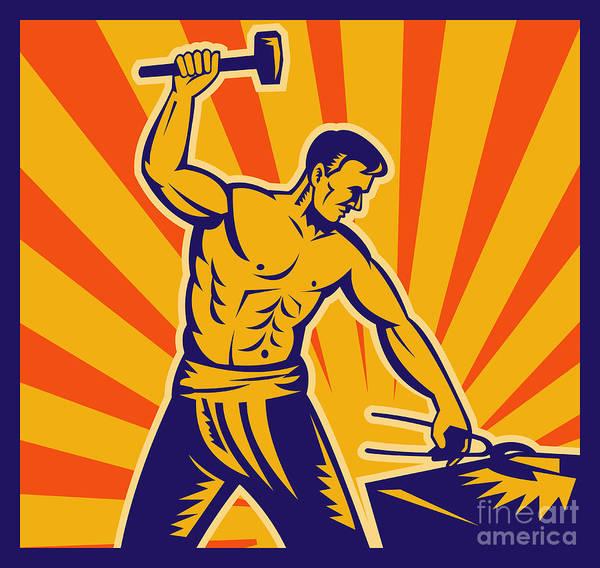 Worker Poster featuring the digital art Blacksmith At Work by Aloysius Patrimonio