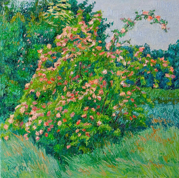 Blossoming Poster featuring the painting Blossoming bush landscape by Vitali Komarov