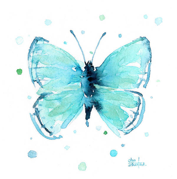 Watercolor Poster featuring the painting Blue Abstract Butterfly by Olga Shvartsur