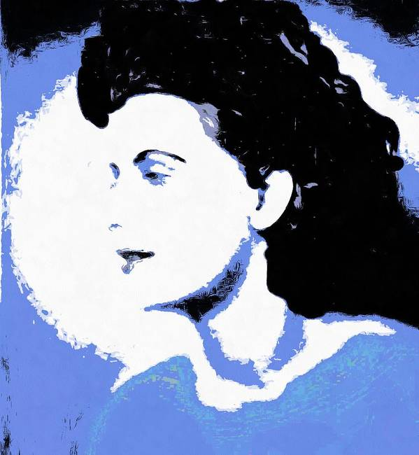 Abstract Poster featuring the digital art Blue - Abstract Woman by Caterina Christakos
