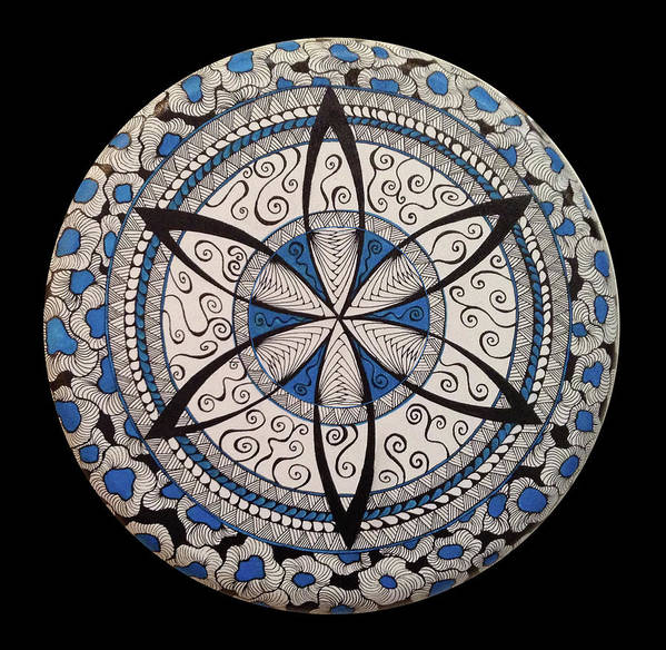 Mandala Poster featuring the painting Blue And White Mandala by Susan Singer