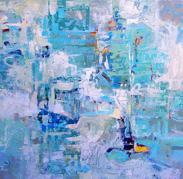 Abstract Poster featuring the painting Blue Beacon by Dale Witherow