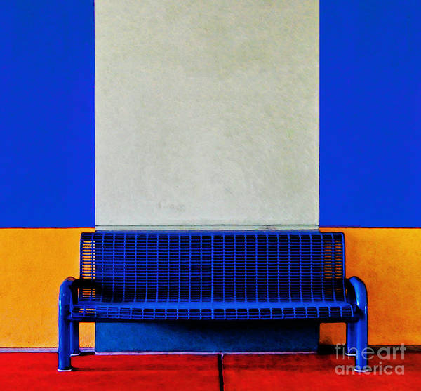 Color Poster featuring the photograph Blue Bench by Curtis Staiger