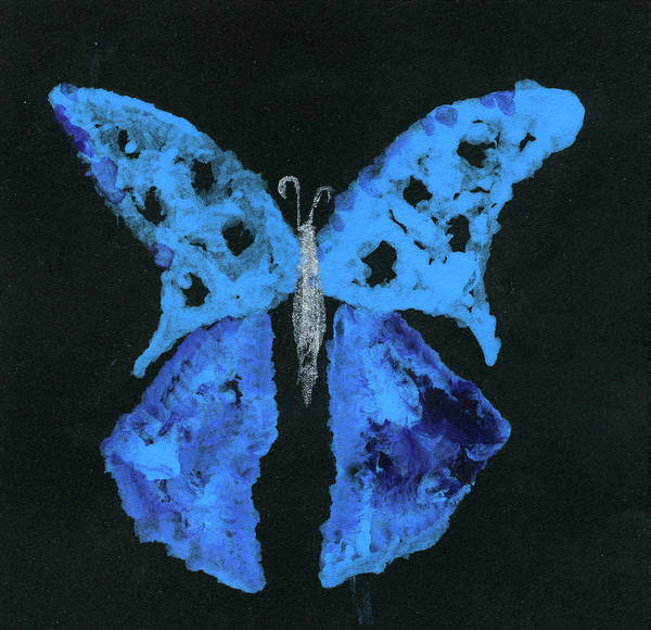 Butterfly Poster featuring the painting Blue Butterfly by Oudi Arroni