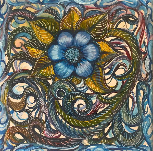 Blue Poster featuring the painting Blue Flower With Yellow Leaves by Karen Doyle