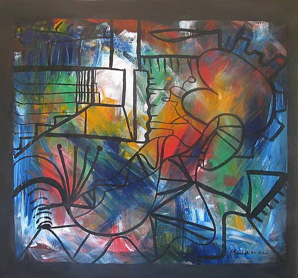 Abstract Canvas Poster featuring the painting Blue Knight And The Waves by Alfonso Robustelli