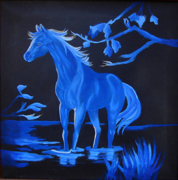 Blue Poster featuring the painting Blue Moon by Darlene Green
