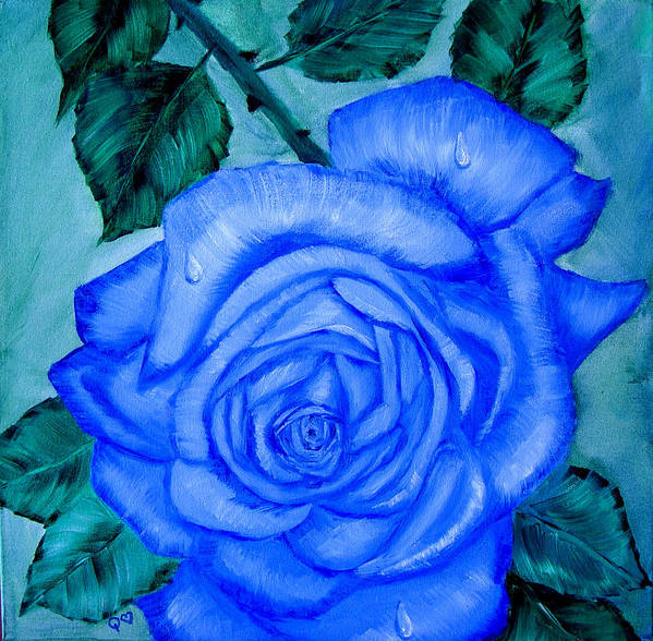 Rose Poster featuring the painting Blue Rose by Quwatha Valentine