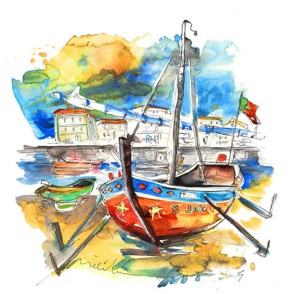 Portugal Poster featuring the painting Boats in Tavira in Portugal 02 by Miki De Goodaboom