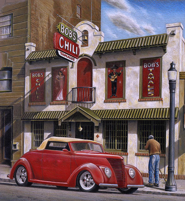 Automotive Poster featuring the painting Bob's Chili Parlor by Craig Shillam