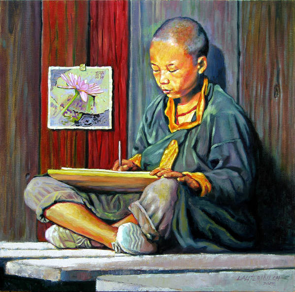 Chinese Boy Poster featuring the painting Boy Painting Lilies by John Lautermilch