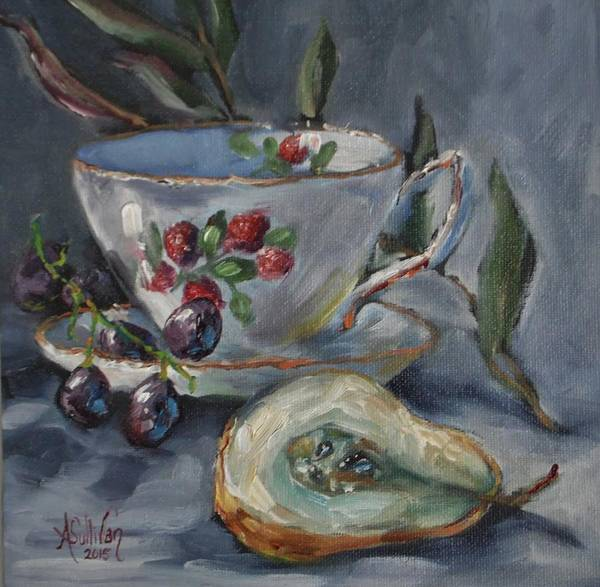 Teacup And Saucer Poster featuring the painting Breakfast Goodies by Angela Sullivan