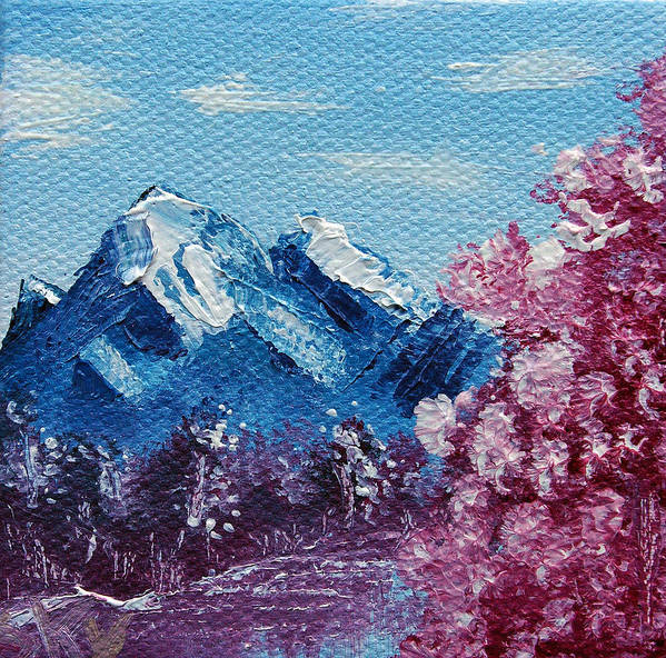 Wonderous Poster featuring the painting Bright Blue Mountains by Jera Sky