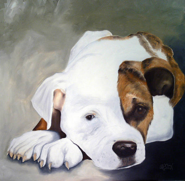 Poster featuring the painting Bulldog by Dick Larsen