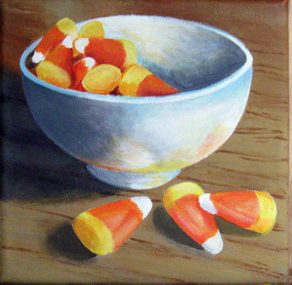 Candy Corn Poster featuring the painting Candy Corn by Sharon Marcella Marston