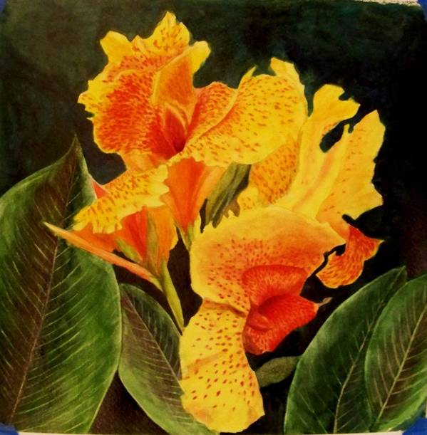 Flower Poster featuring the painting Canna Lilies by Vickie Voelz