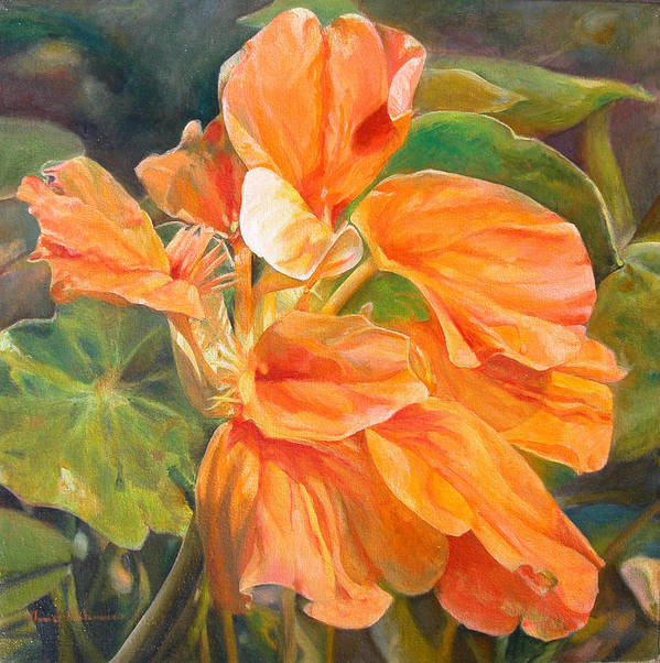 Floral Painting Poster featuring the painting Capucine by Muriel Dolemieux